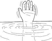 Outline of Hand in Water Royalty Free Stock Photo