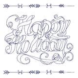 Outline Happy Holiday ribbon lettering on white background Royalty Free Stock Images