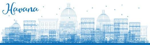 Outline Havana Skyline with Blue Buildings. Stock Photos