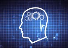 Outline head with cogs brain on a technological blue background Stock Photography