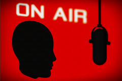 Outline of Head with Vintage Microphone and On Air Sign Stock Images