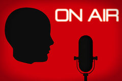 Outline of Head with Vintage Microphone and On Air Sign Royalty Free Stock Image