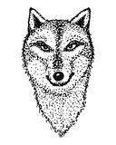 Outline of the head of a wolf. Animal totem stock illustration