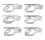 Outline helicopter icons set Stock Image