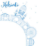 Outline Helsinki skyline with blue buildings and copy space. Stock Images