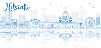 Outline Helsinki skyline with blue buildings and reflections. Stock Photography