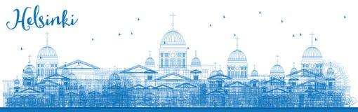 Outline Helsinki Skyline with Blue Buildings. Stock Photos
