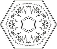 Outline hexagon snowflake circular ornament. Vector Stock Image