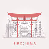 Outline Hiroshima skyline with landmarks. Vector illustration. Business travel and tourism concept with historic buildings. Image for presentation, banner