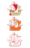 Outline of historic caravel. Set of three illustrations of historic caravel ship Stock Photos