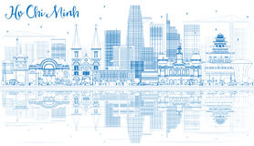 Outline Ho Chi Minh Skyline with Blue Buildings and Reflections. Vector Illustration. Business Travel and Tourism Concept with Modern Buildings. Image for stock illustration
