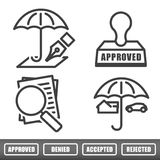 Outline Home and Auto Insurance Icons Royalty Free Stock Photo