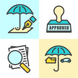 Outline Home and Auto Insurance Icons Stock Images