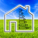 Outline of a home showing energy efficiency rating. Outline of a home showing the energy efficiency rating based on consumption and the source of the supply and Stock Photos