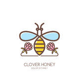 Outline honeybee logo, emblem or icon. Linear bee and clover flowers isolated  Royalty Free Stock Image