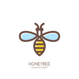 Outline honeybee logo, emblem or icon. Linear bee isolated on white background. Stock Photo