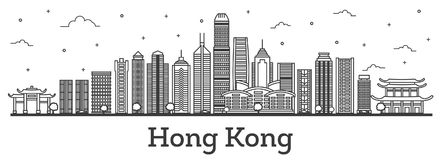 Outline Hong Kong China City Skyline with Modern Buildings Isolated on White. stock illustration