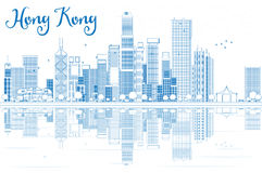 Outline Hong Kong skyline with blue buildings. Stock Image