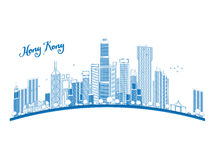 Outline Hong Kong skyline with blue skyscrapers and taxi Royalty Free Stock Photo