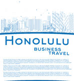 Outline Honolulu Hawaii skyline with blue buildings and copy spa Royalty Free Stock Photo