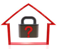 Outline of a house and a question lock royalty free stock photos