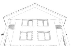 Outline house vector format on the white Royalty Free Stock Photo