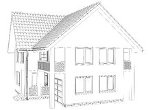Outline house on the white background Stock Images