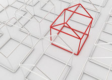 Outline Houses. Metallic 3d wire houses, horizontal Royalty Free Stock Images