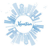 Outline Houston Skyline with Blue Buildings. Vector Illustration. Business Travel and Tourism Concept with Copy Space. Image for Presentation Banner Placard Stock Photography
