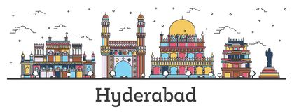 Outline Hyderabad India City Skyline with Color Buildings Isolated on White vector illustration