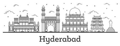 Outline Hyderabad India City Skyline with Historical Buildings Isolated on White royalty free illustration