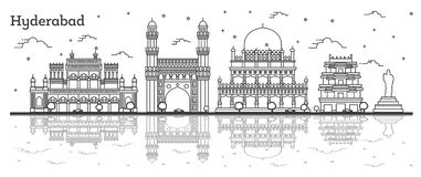 Outline Hyderabad India City Skyline with Historical Buildings and Reflections Isolated on White vector illustration