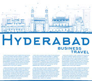 Outline Hyderabad Skyline with Blue Landmarks and Copy Space. Stock Images