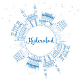 Outline Hyderabad Skyline with Blue Landmarks and Copy Space. Stock Image