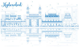 Outline Hyderabad Skyline with Blue Landmarks and Reflections. Royalty Free Stock Image
