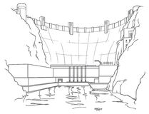 Outline hydroelectric dam Stock Photo