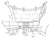 Outline hydroelectric dam. Outline illustration of a hydroelectric dam generating power and electricity with falling water Royalty Free Stock Images