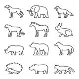 Outline icon animals set. Domestic and wild. Stock Photography