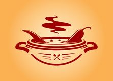 Chili pepper in bowl vector icon emblem stock illustration