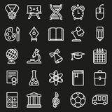 Outline icon collection. School education. Outline icon collection - School education. Vector illustration on black background Vector Illustration