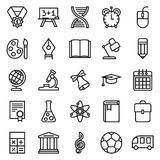Outline icon collection. School education. Outline icon collection - School education. Vector illustration on white background Royalty Free Illustration