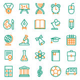 Outline icon collection. School education. Outline icon collection - School education. Vector illustration on white background Vector Illustration