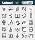 Outline icon collection. School education. Outline icon collection - School education. Vector illustration on white background Stock Illustration