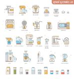 Outline icon collection small kitchen electronics appliances:espresso machine,coffee maker,food processor,multicooker,oven,kettle. Blender, mixer,jucer,deep vector illustration