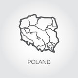 Outline icon of Poland map. Contour simplicity emblem. Vector shape of country for atlas and other design projects Stock Images