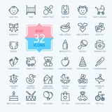 Outline icon set - Baby toys, feeding and care Royalty Free Stock Photo