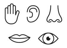 Outline icon set of five human senses: vision eye, smell nose, hearing ear, touch hand, taste mouth with tongue.  stock illustration