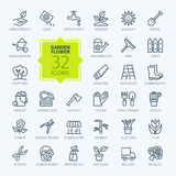 Outline icon set - Flower and Gardening stock illustration
