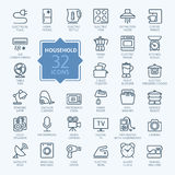 Outline icon set - household appliances Stock Photo