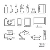 Outline icon set. Office supplies, printer, lamp, pen, pencil, c Royalty Free Stock Photography